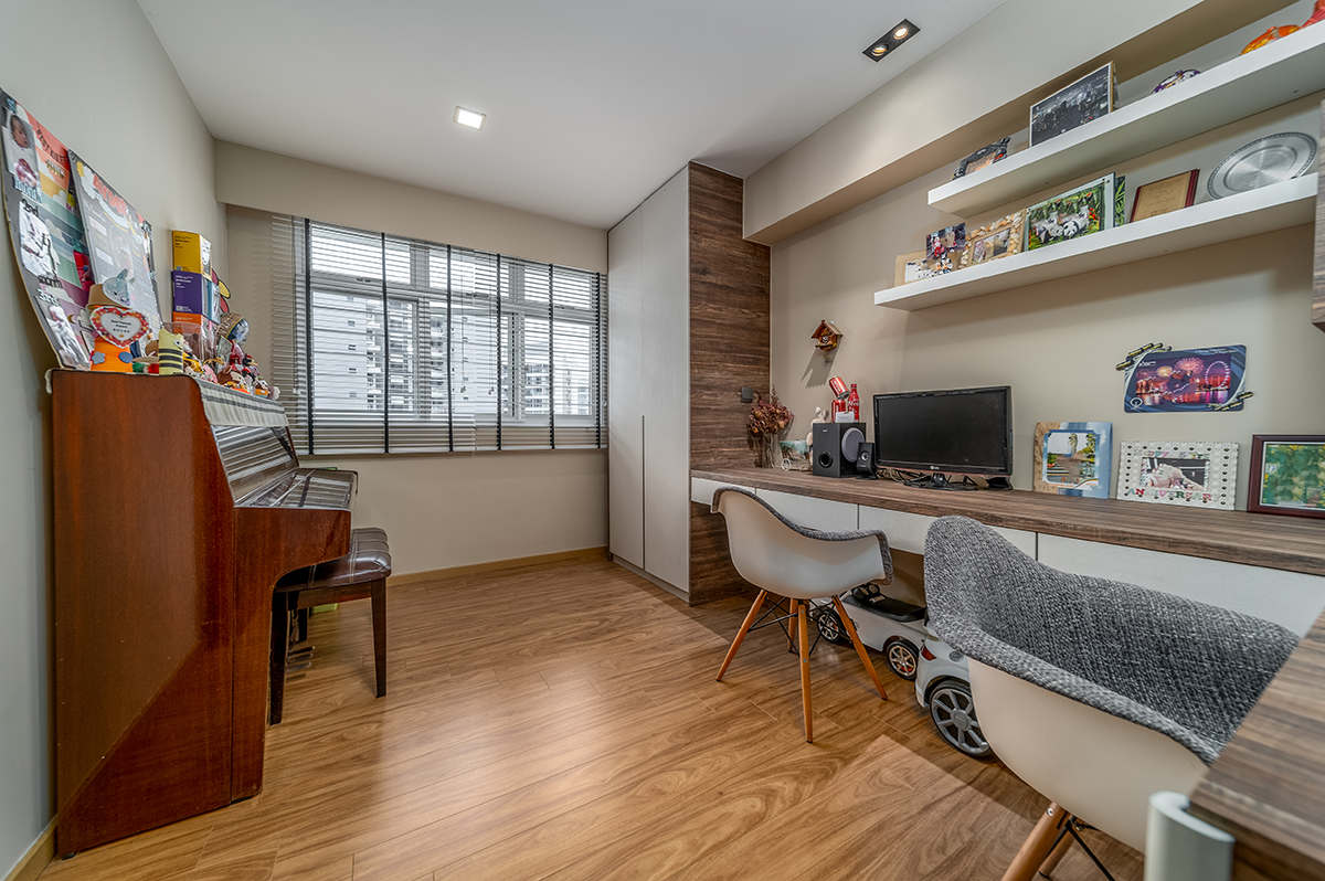 squarerooms michelle lim self home renovation without id interior design neutral wood home office study room desk