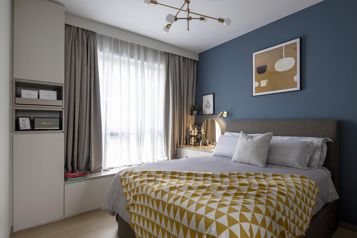 squarerooms prozfile home tour interior design renovation single mum family house executive apartment flat blue main master bedroom yellow gold sheets bedding