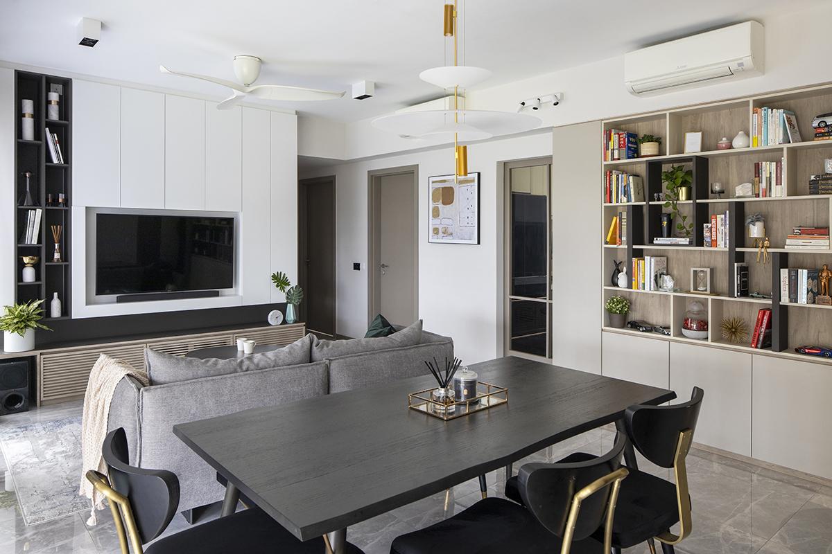 squarerooms prozfile home tour interior design renovation single mum family house executive apartment flat dining area room living tv table shelf storage