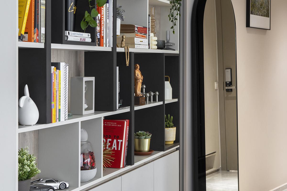 squarerooms prozfile home tour interior design renovation single mum family house executive apartment flat entrance entryway shelf storage bookcase