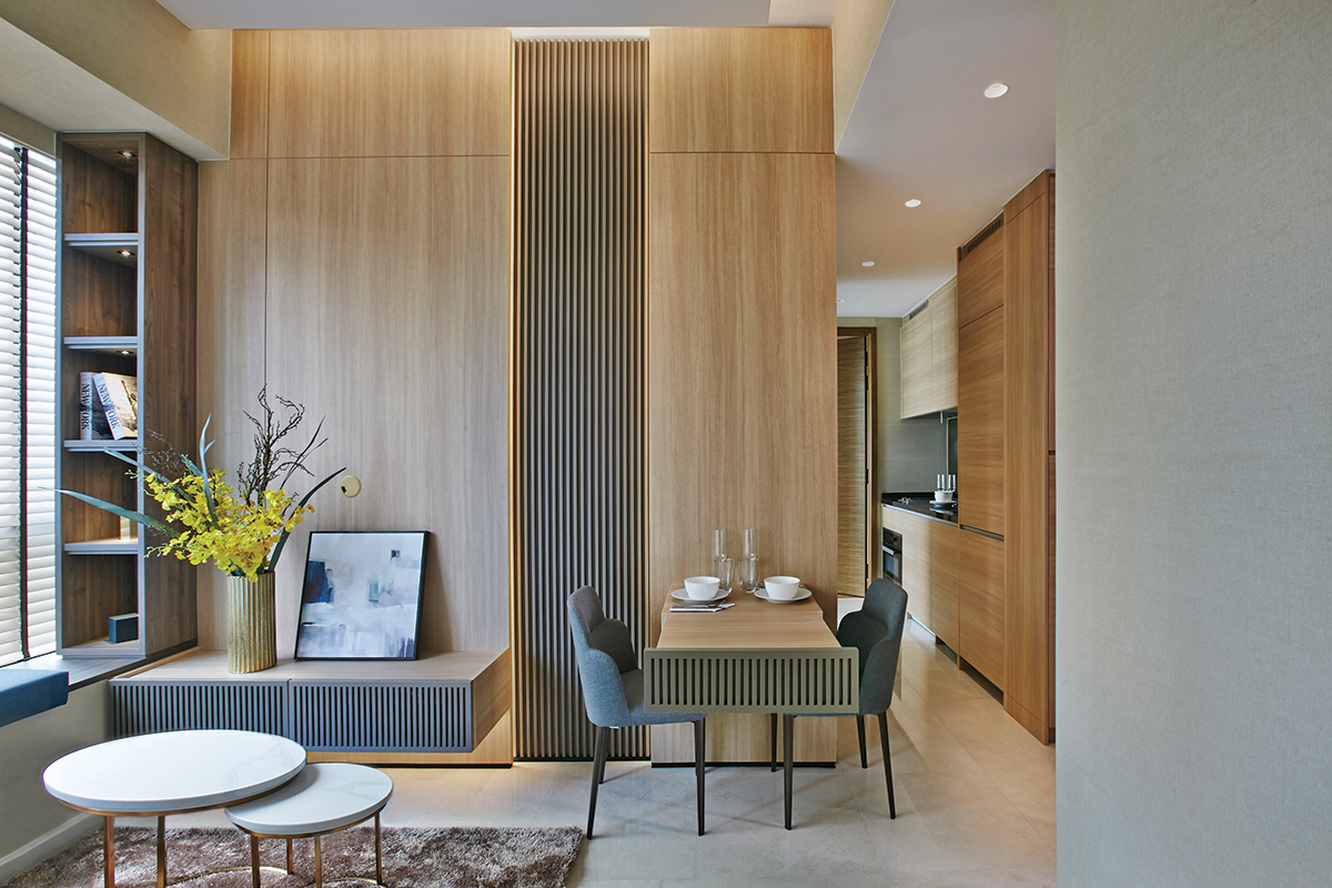 squarerooms richfield integrated home renovation condo maximise space small tiny apartment makeover living dining room area luxury contemporary minimalist wood