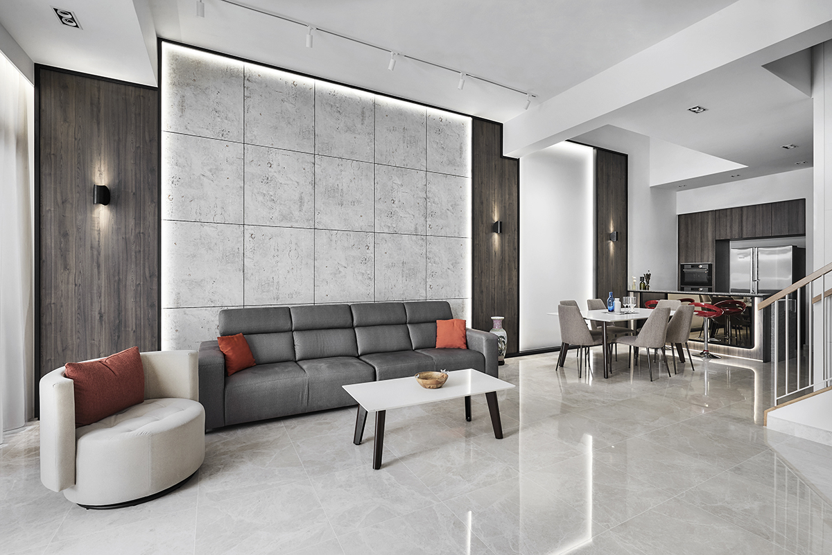 squarerooms richfield integrated home renovation makeover terrace house 5 bedroom minimalist luxury luxurious black and white monochromatic luxe yio chu kang living room grey feature wall lights red cushions