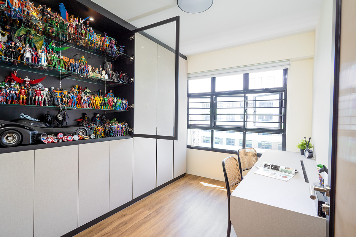 squarerooms cozyspace home renovation hdb bto flat tampines st 61 budget 45k study room office desk work space white cabinet display