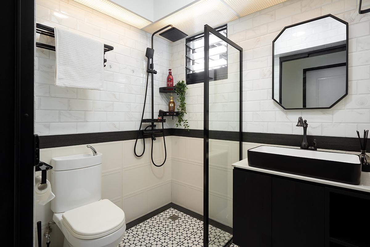 squarerooms cozyspace home renovation hdb bto flat tampines st 61 budget 45k bathroom black and white monochromatic floor tiles pattern