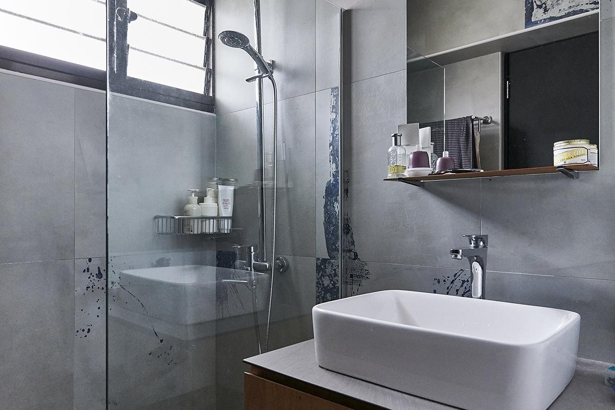 squarerooms ju design studio home budget renovation dark black grey monochromatic industrial bathroom shower sink countertop