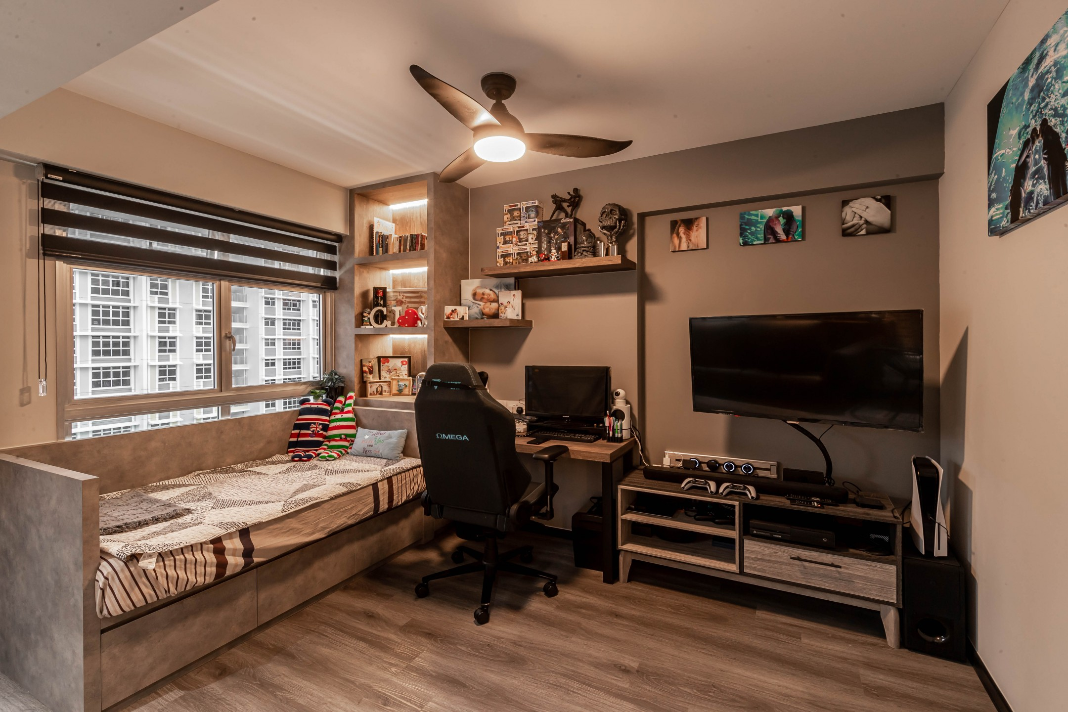squarerooms renozone northshore industrial home hdb renovation style interior design home office gaming room study daybed