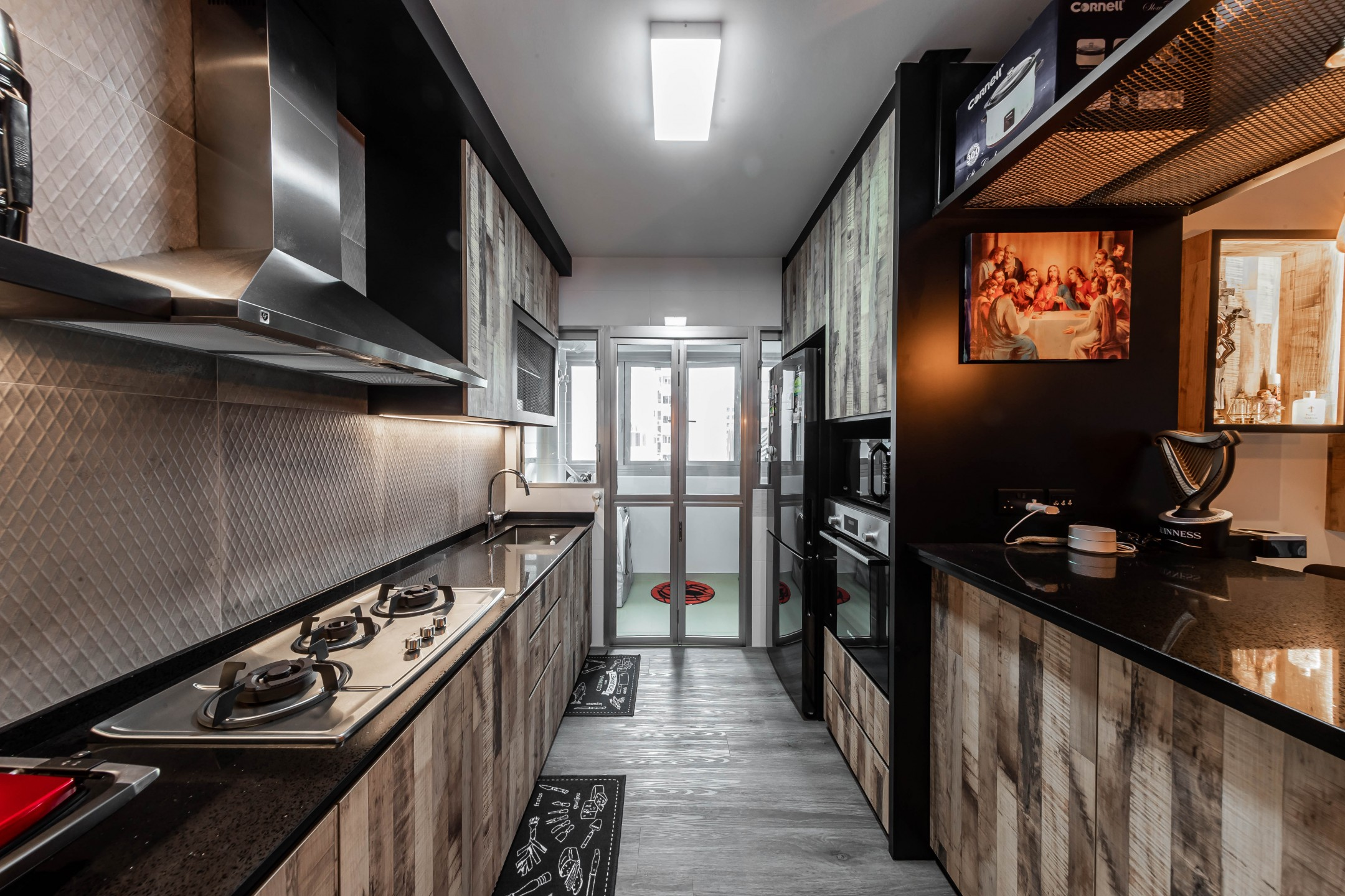 squarerooms renozone northshore industrial home hdb renovation style interior design kitchen counters black dark grey
