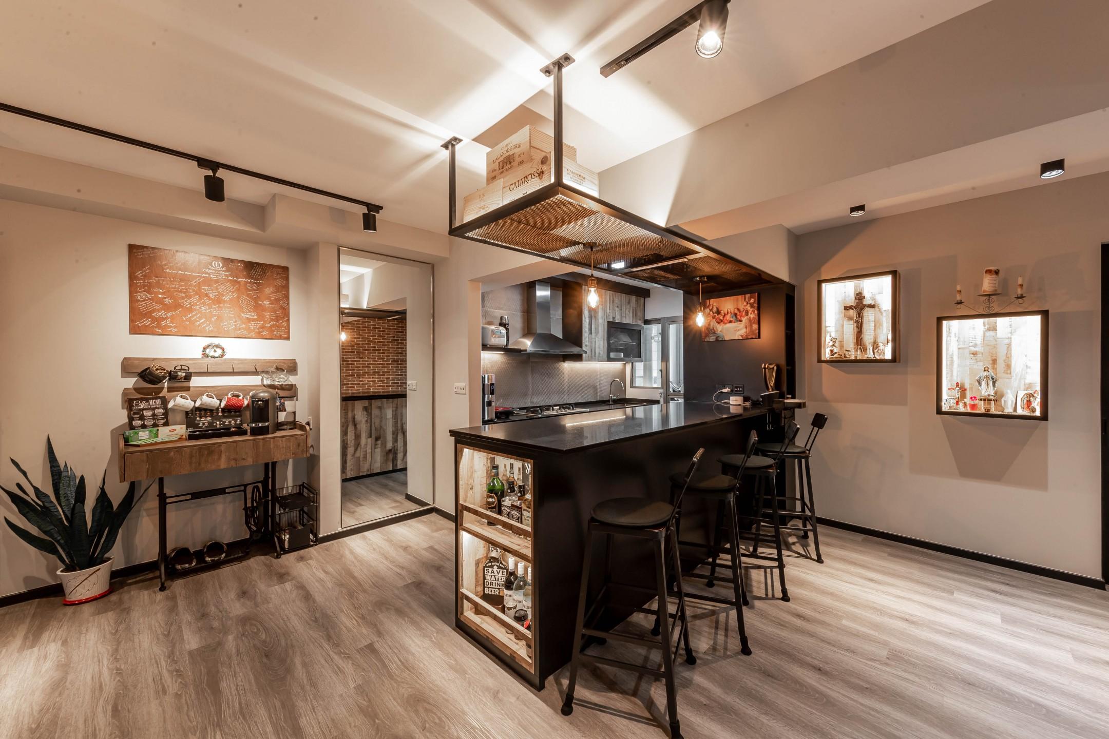 squarerooms renozone northshore industrial home hdb renovation style interior design kitchen island bar religious artwork hidden door