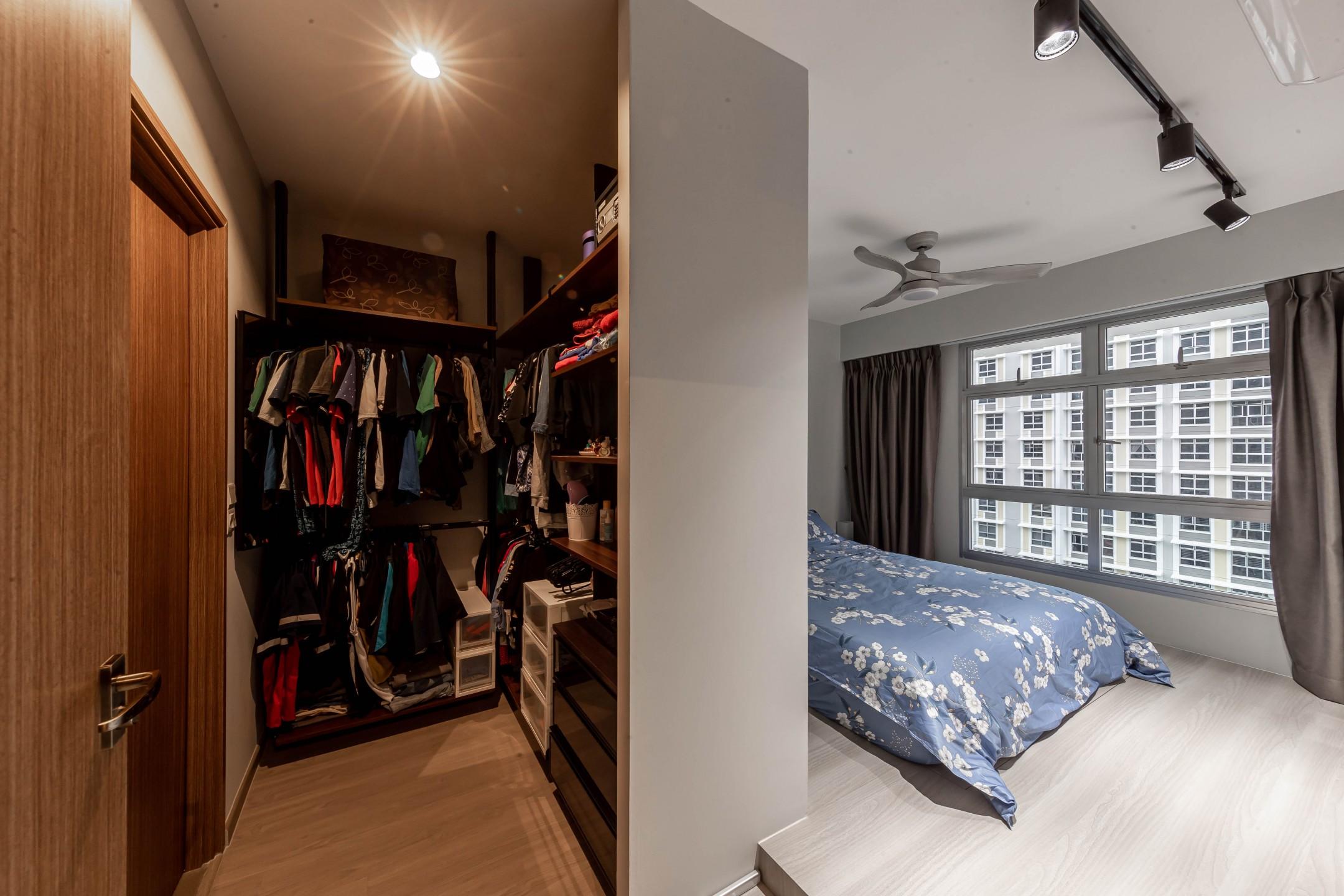 squarerooms renozone northshore industrial home hdb renovation style interior design bedroom walk in wardrobe closet partition
