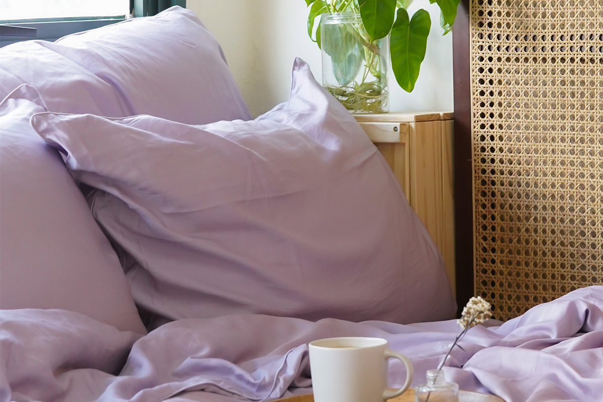 squarerooms Weavve Home Lyocell TENCEL Bed Sheets Set Singapore Lilac Mauve purple tray candle cup