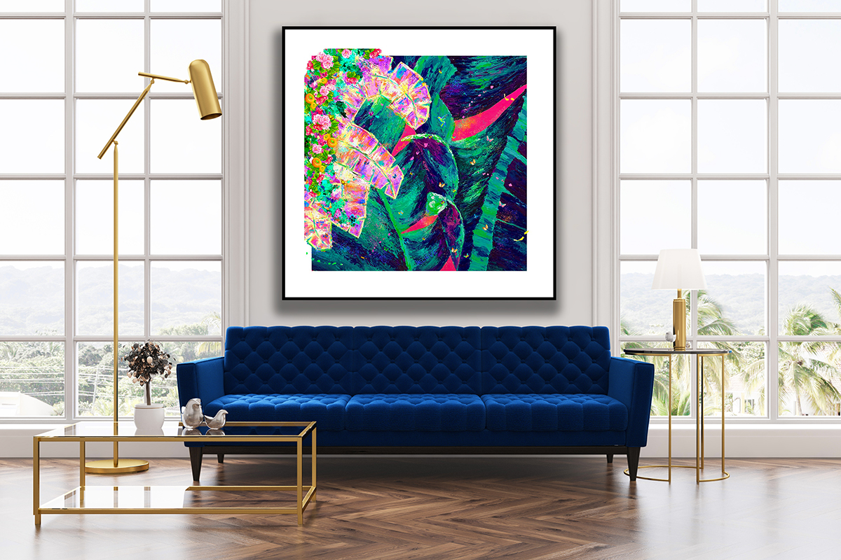 squarerooms mishell leong artwork art gallery home painting wall living room couch blue