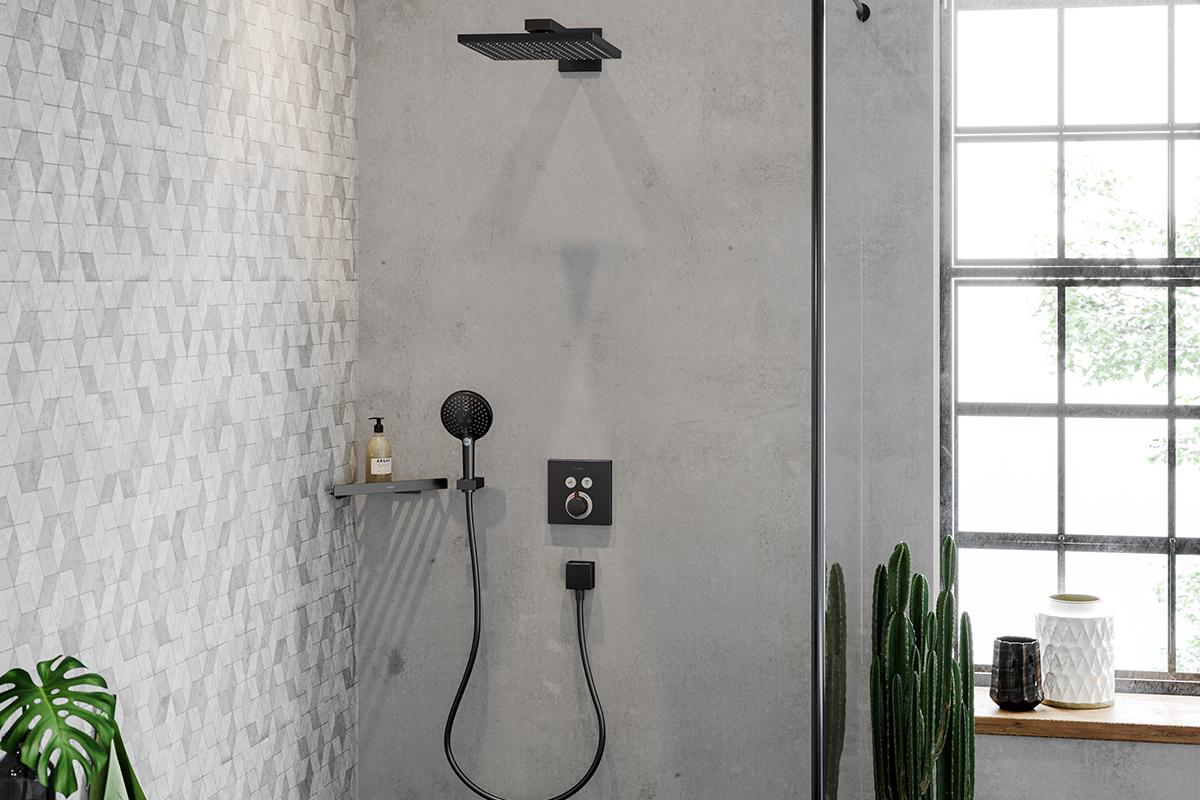 squarerooms hansgrohe surface finishplus new shower grey black
