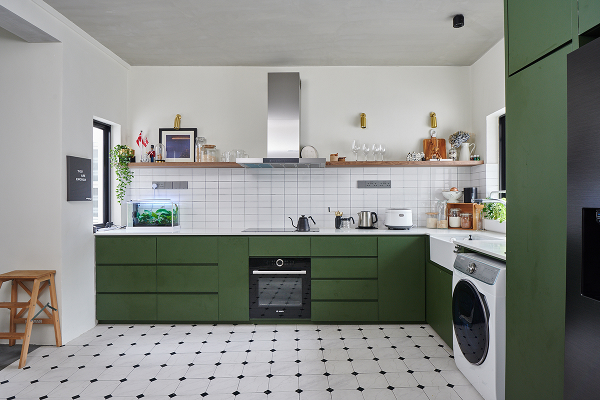 squarerooms eightytwo interior design home renovation apartment makeover singapore contemporary style look moh guan kitchen green cabinets white tiles pattern