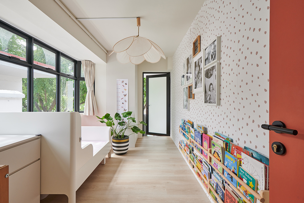 squarerooms eightytwo interior design home renovation apartment makeover singapore contemporary style look moh guan kids room bedroom red pink cute pattern wallpaper