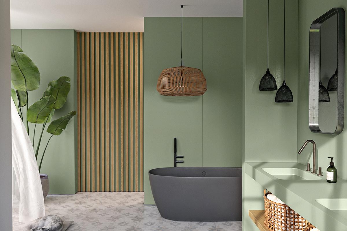 squarerooms cosentino silestone sunlit days green bathroom quartz surfaces black bathtub