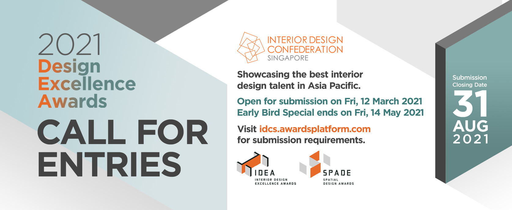 squarerooms idcs design excellence awards interior design confederation singapore submissions call for entries 2021 best design competition asia pacific