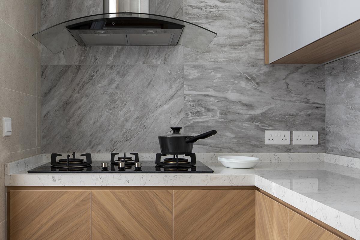 squarerooms salt studio condo condominium renovation home interior apartment makeover contemporary style kitchen wood cabinets grey backsplash wall