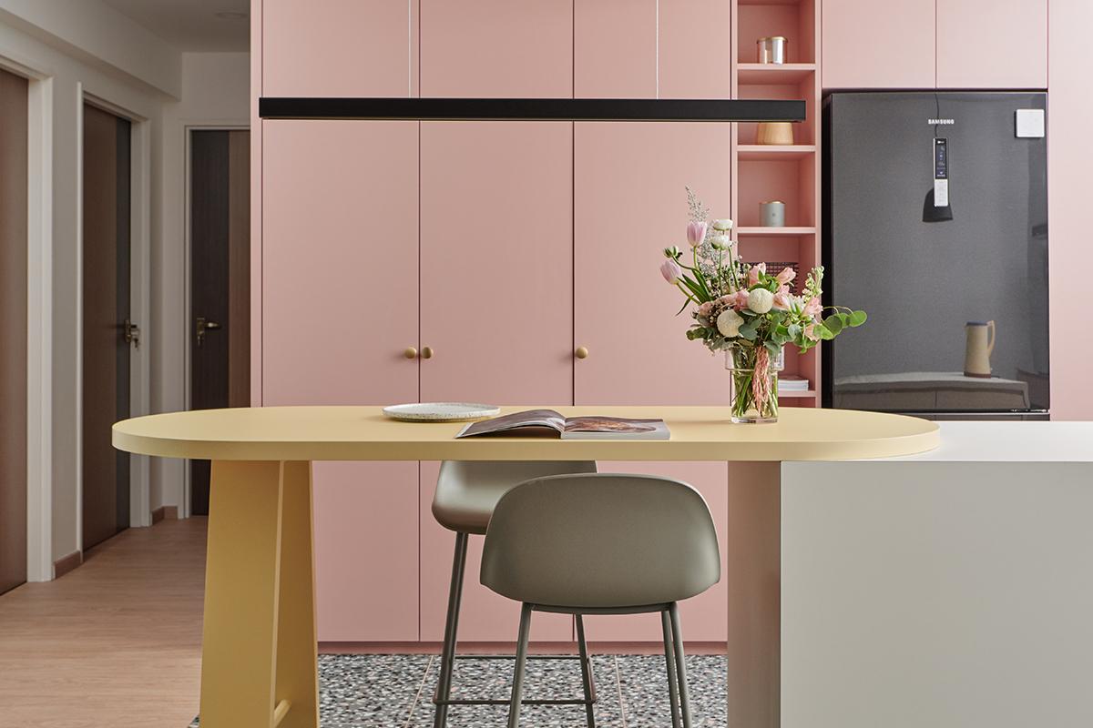 squarerooms studio fortyfour pastel home interior design hdb bto 5 room flat renovation makeover singapore punggol pink kitchen wood dining island table