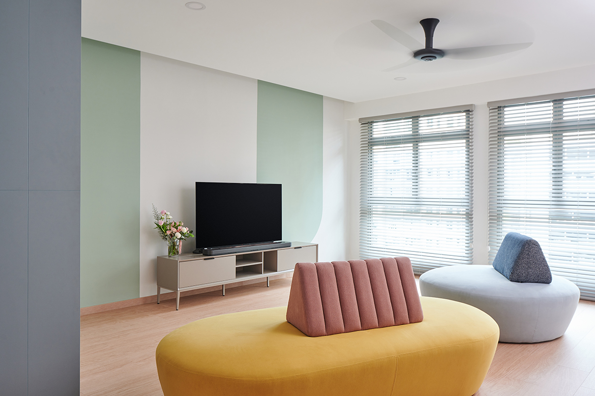 squarerooms studio fortyfour pastel home interior design hdb bto 5 room flat renovation makeover singapore punggol green pink yellow living room area colourful cute
