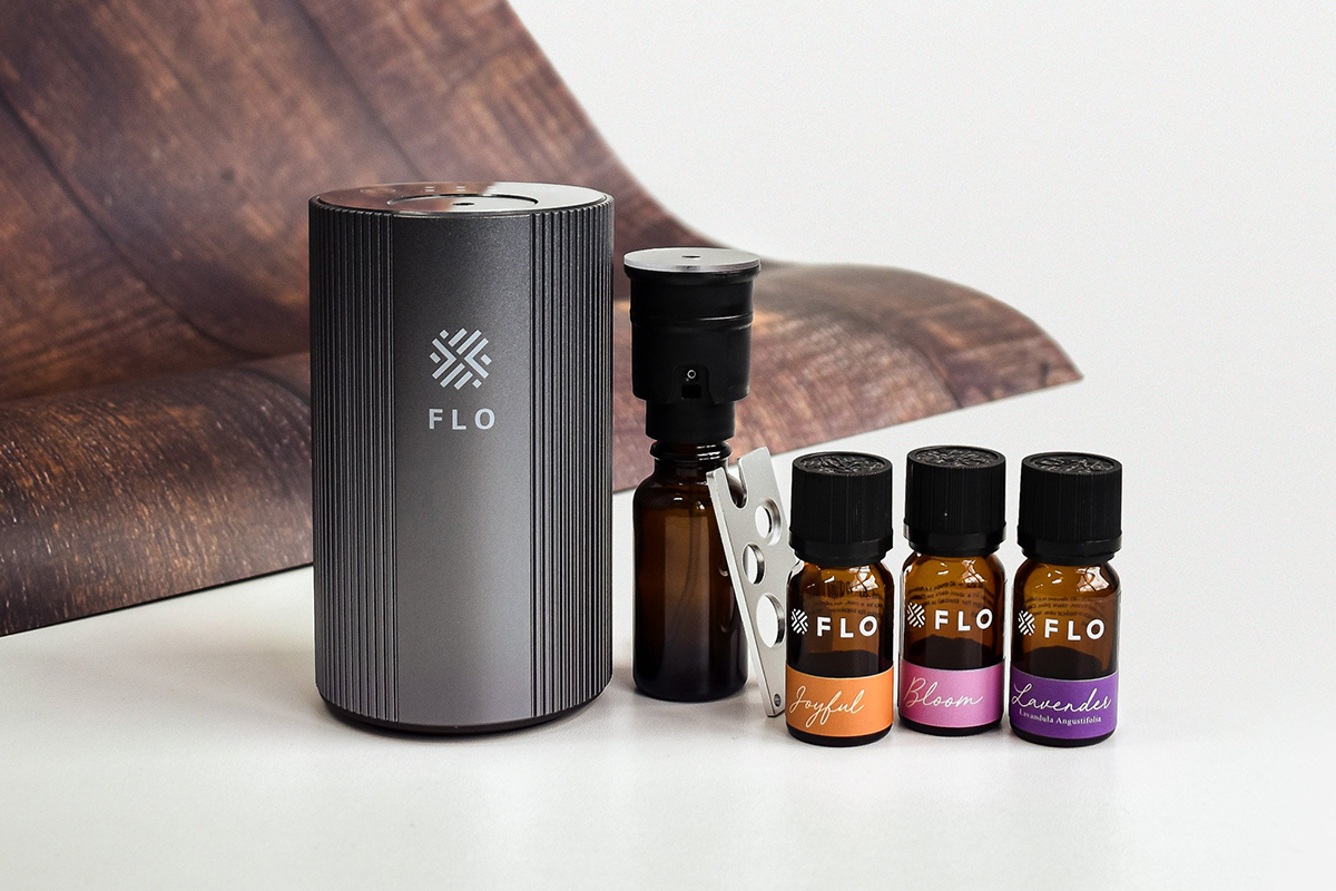squarerooms flo aroma essential oil diffuser home fragrance scent gift set father's day go portable