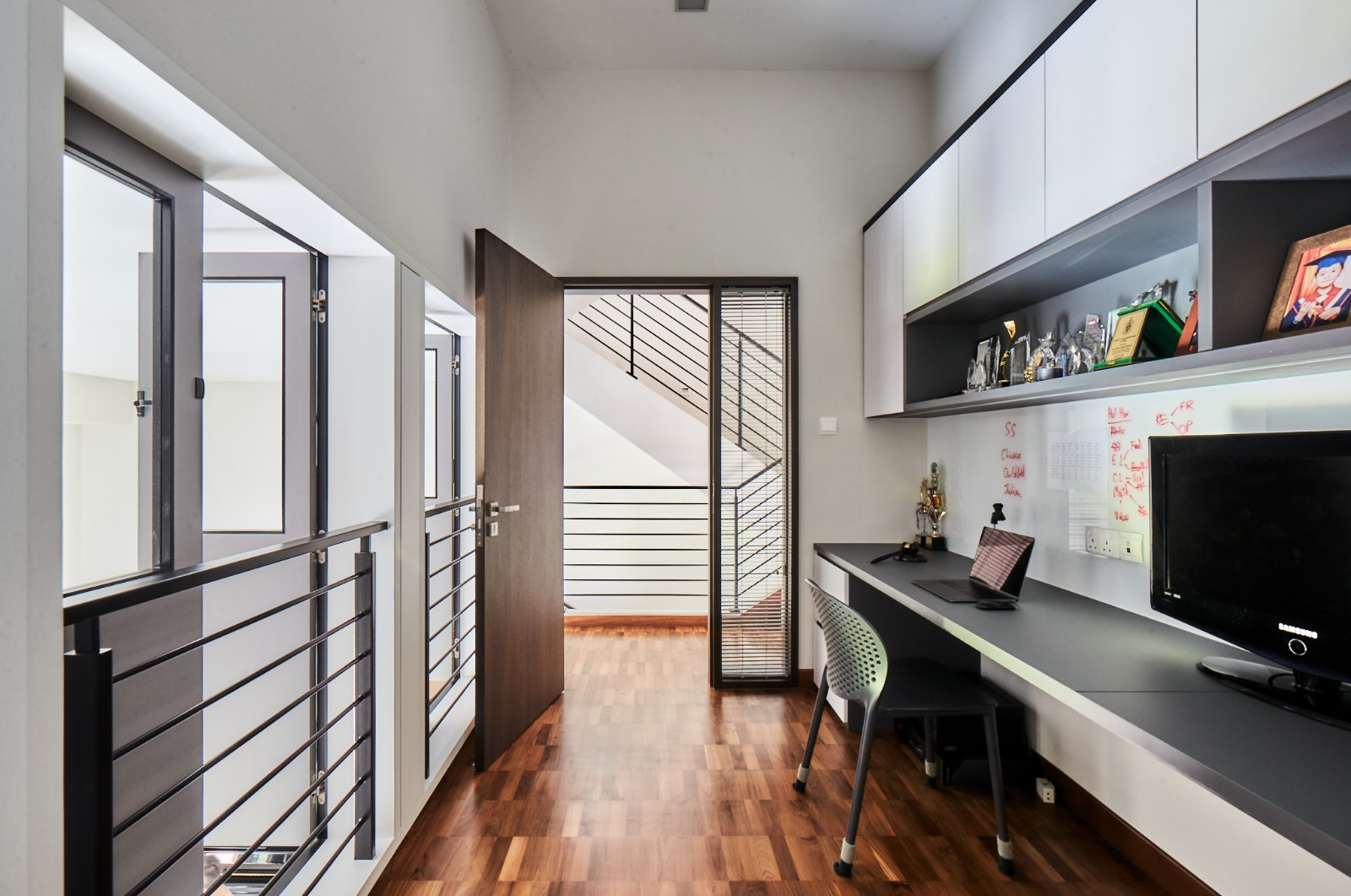 squarerooms richfield integrated home landed house renovation makeover modern contemporary neutral monochromatic design office study room desk wood floors stairs bungalow