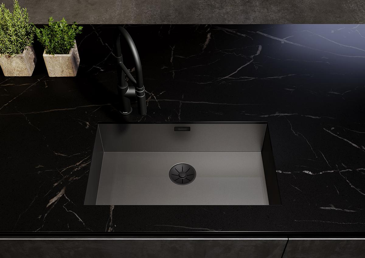 squarerooms blanco kitchen sink black dark countertop quartz marble plants