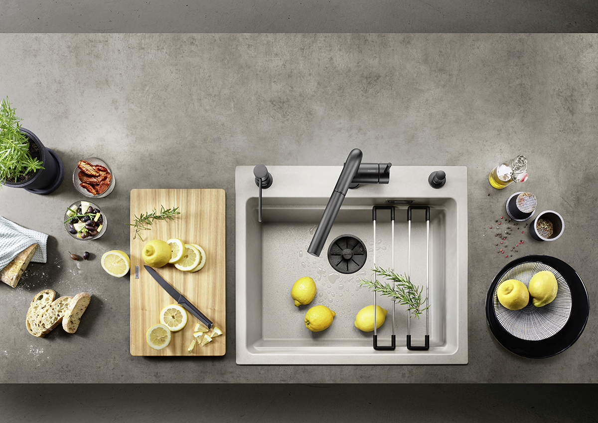 squarerooms blanco kitchen sink grey countertop food flatlay lemons