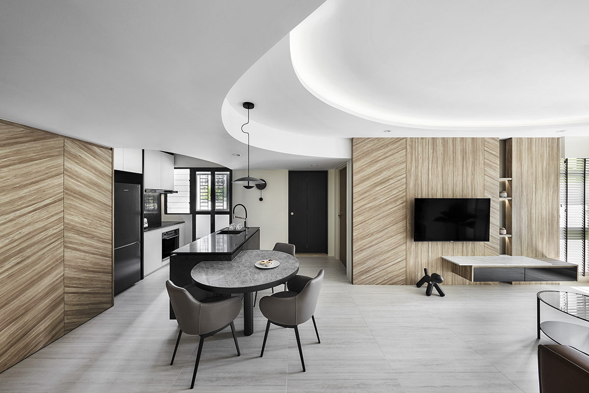 squarerooms notion of w home renovation hdb bto flat minimalist luxury monochromatic black and white wood communal area living room dining kitchen curved ceiling