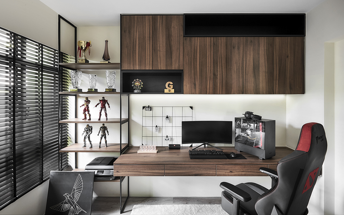squarerooms notion of w home renovation hdb bto flat minimalist luxury monochromatic black and white wood study desk office cabinets chair