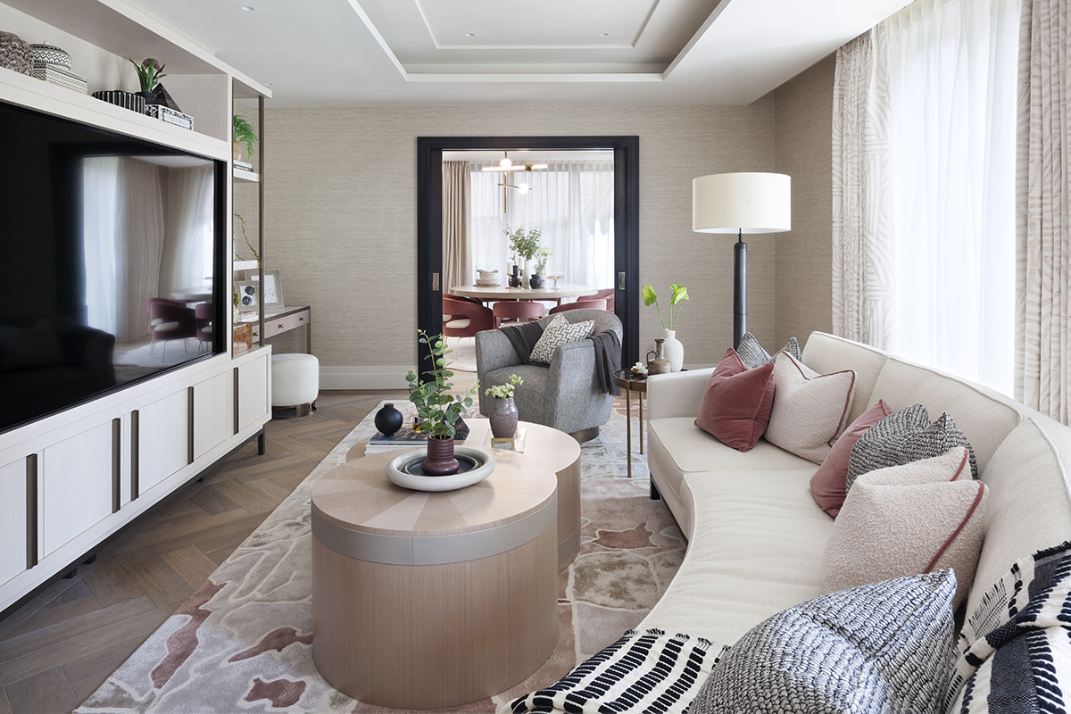 squarerooms elicyon london duplex renovation home luxury blossom flowers cute luxurious apartment uk living room white pink grey