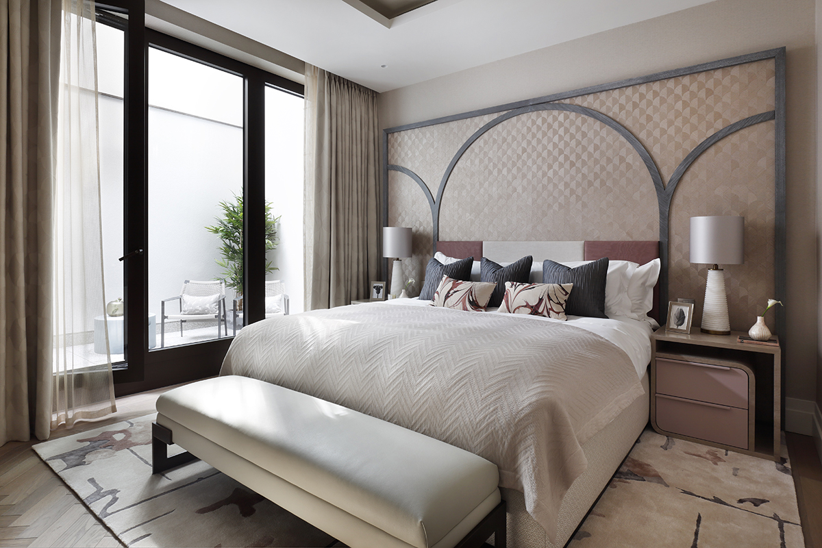 squarerooms elicyon london duplex renovation home luxury blossom flowers cute luxurious apartment uk bedroom master suite white black graphic wall headboard curved rounded