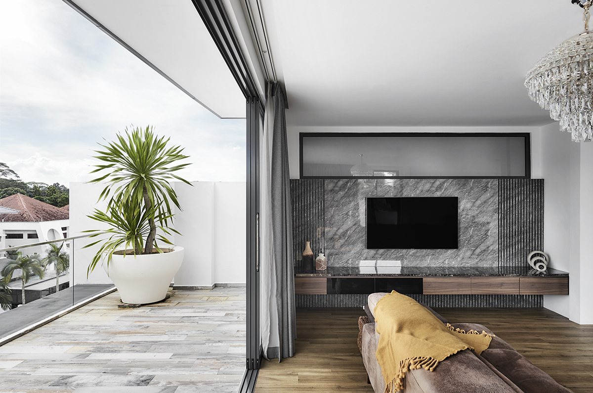 squarerooms notion of w home renovation landed house luxury monochromatic minimalist design black and white grand opulent big property balcony open outdoors view living area room tv feature wall grey