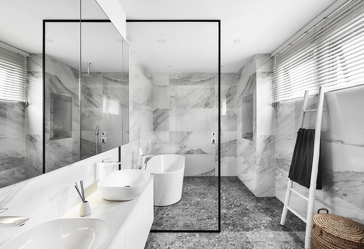 squarerooms notion of w home renovation landed house luxury monochromatic minimalist design black and white grand opulent big property bathroom grey marble shower toilet