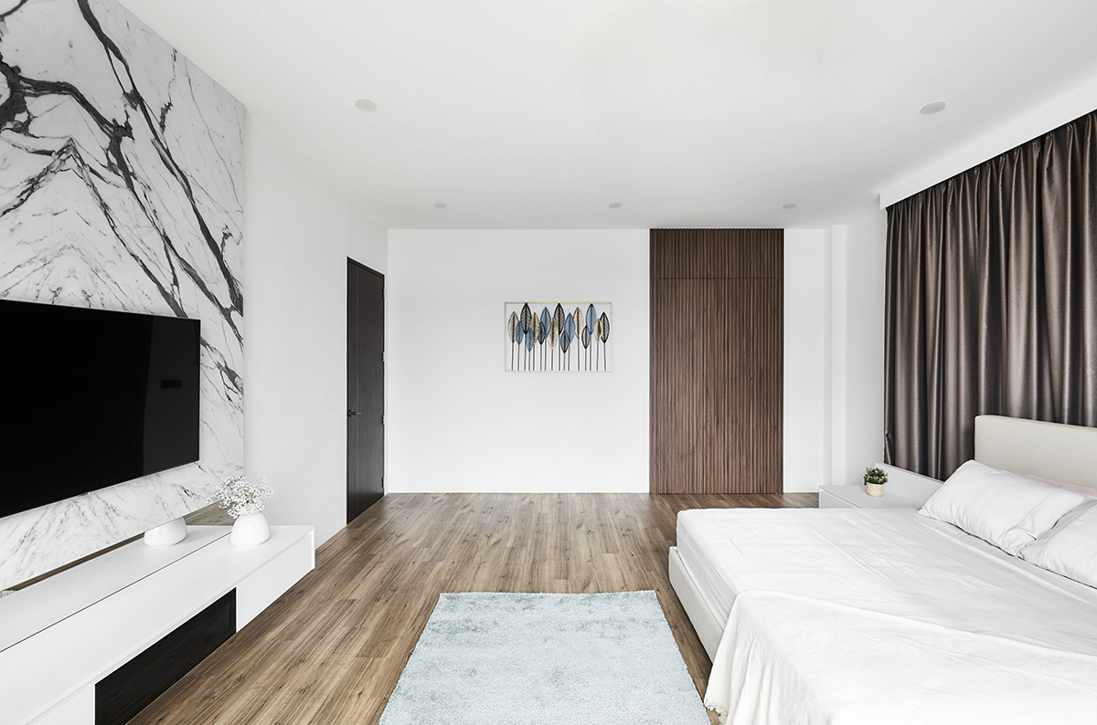 squarerooms notion of w home renovation landed house luxury monochromatic minimalist design black and white grand opulent big property Bedroom wood