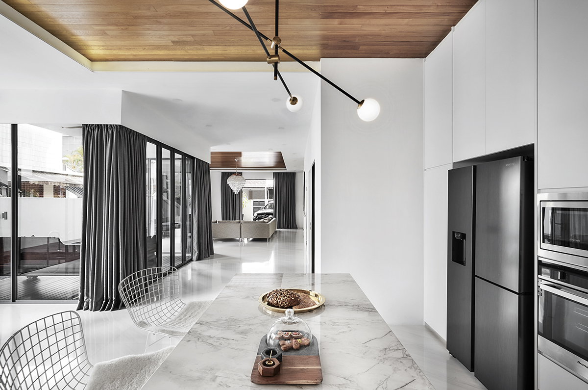 squarerooms notion of w home renovation landed house luxury monochromatic minimalist design black and white grand opulent big property Dining area kitchen wood ceiling marble floor