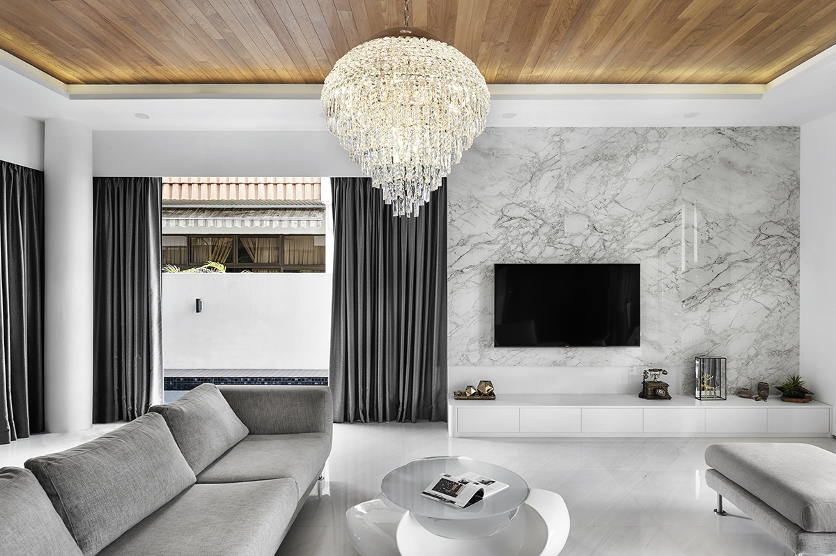 squarerooms notion of w home renovation landed house luxury monochromatic minimalist design black and white grand opulent big property Living area tv feature wall marble wood ceiling