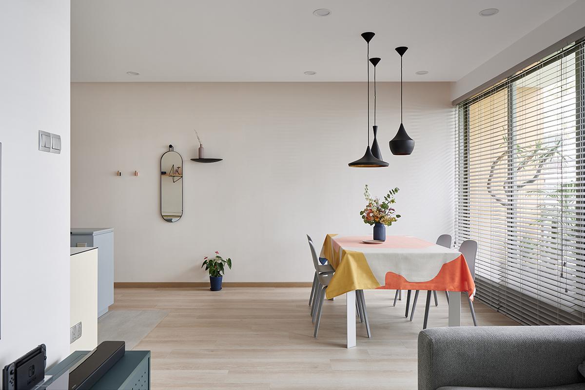 squarerooms studio 44 fortyfour condominium home renovation interior design bedok family living dining room overall view