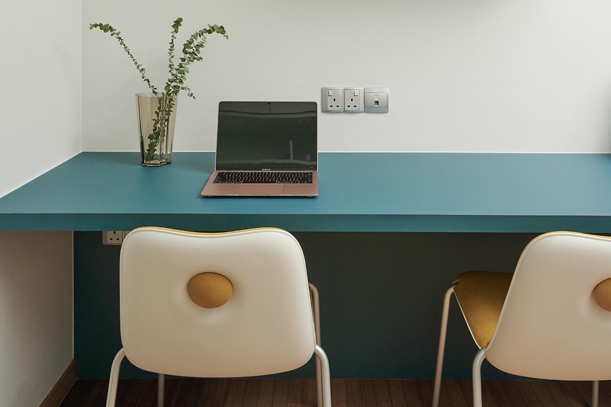 squarerooms studio 44 fortyfour condominium home renovation interior design bedok family desk study office blue pastel cute chairs