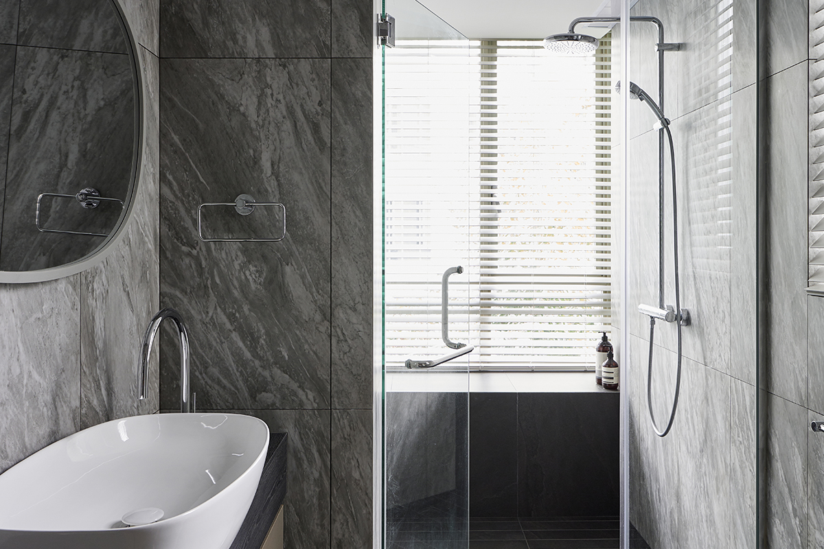 squarerooms studio 44 fortyfour condominium home renovation interior design bedok family bathroom luxury monochromatic marble stone grey shower