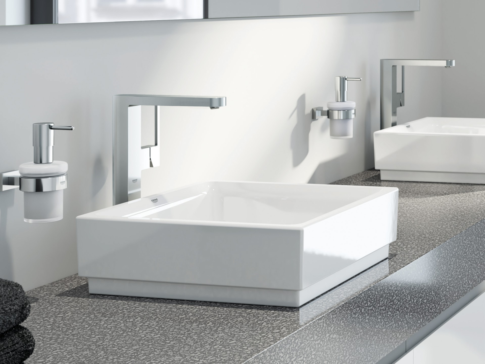 squarerooms grohe sink washbasin white faucet