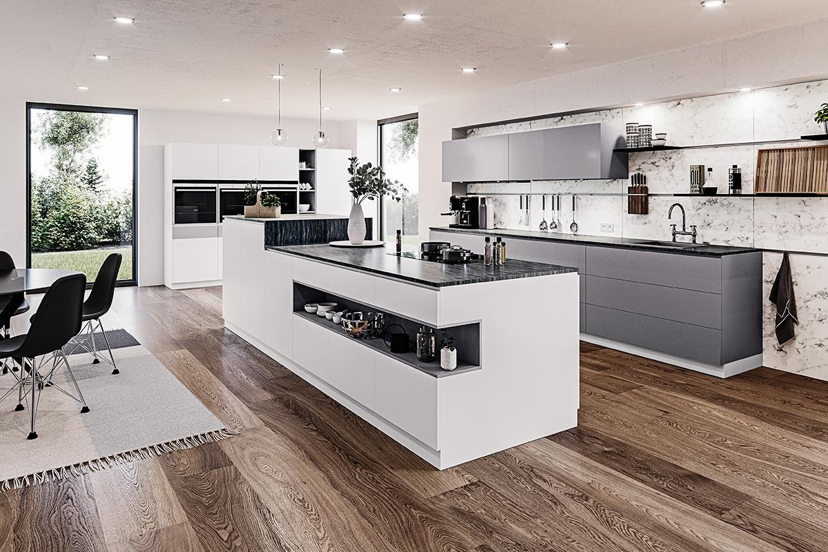 squarerooms rehau laminates kitchen surfaces modern design white luxury island wooden floors