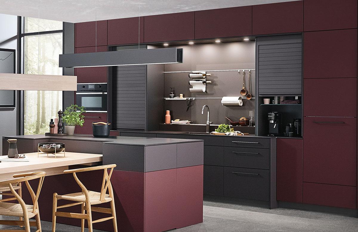 squarerooms rehau laminates kitchen surfaces modern design red black island contemporary dark