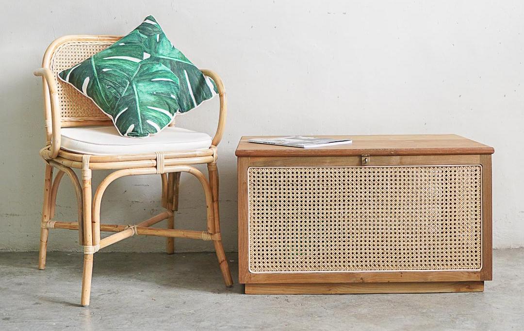 squarerooms naturalis historia nh teak cottagecore reclaimed wood furniture indonesian cabinet sideboard chair cushion leaf botanical