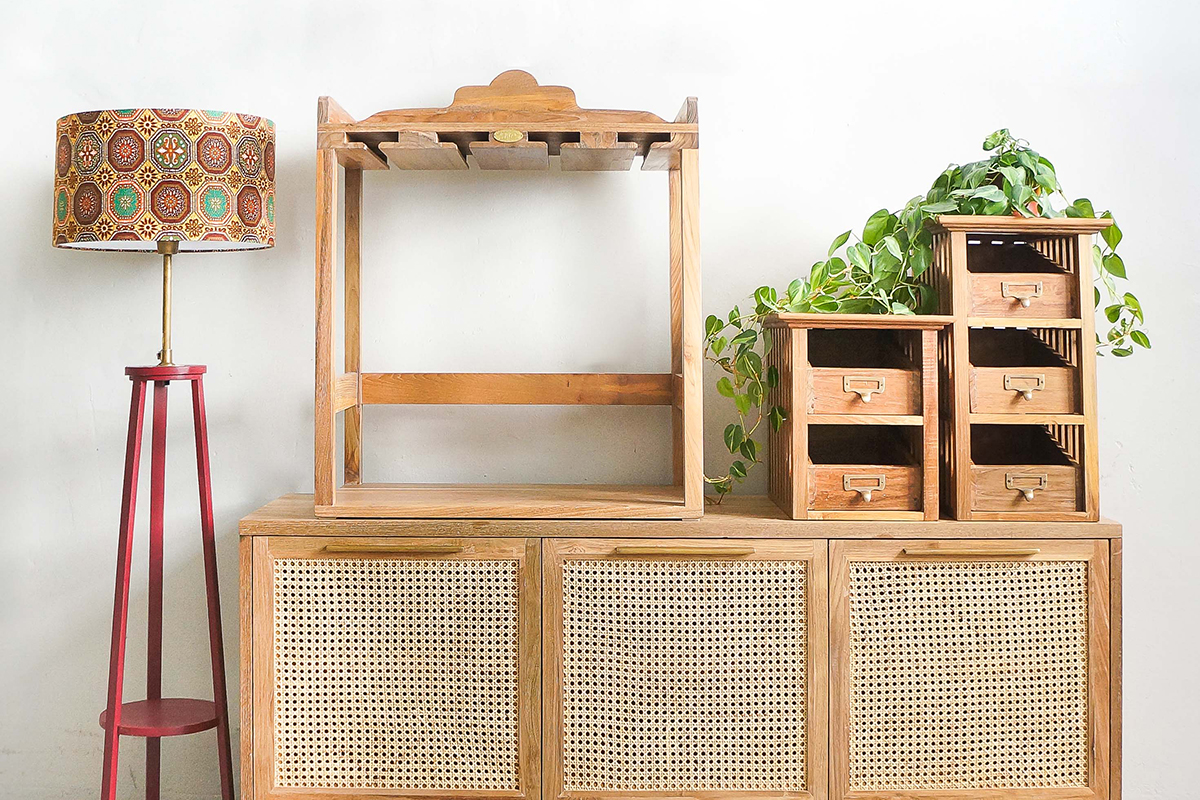 squarerooms naturalis historia nh teak cottagecore reclaimed wood furniture indonesian sideboard cabinet lamp