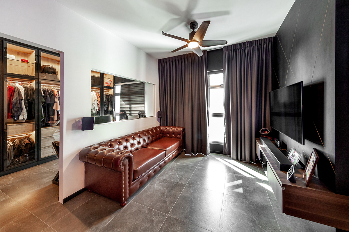 squarerooms darwin interior 4 room bto flat hdb home renovation modern contemporary dark living room grey red leather couch concrete