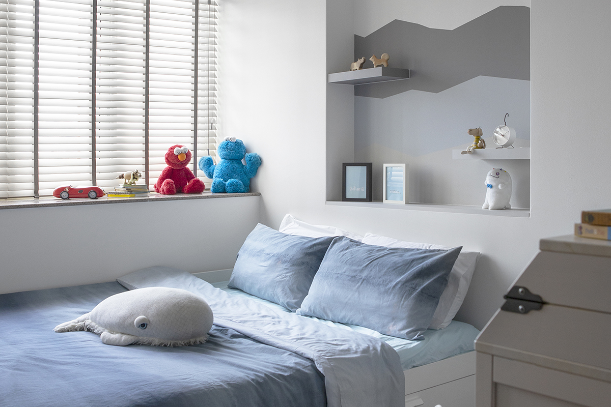 squarerooms d'marvel scale condominium home renovation modern eclectic interior design son's bedroom blue white minimalist simple relaxing soothing pastel wall paint feature