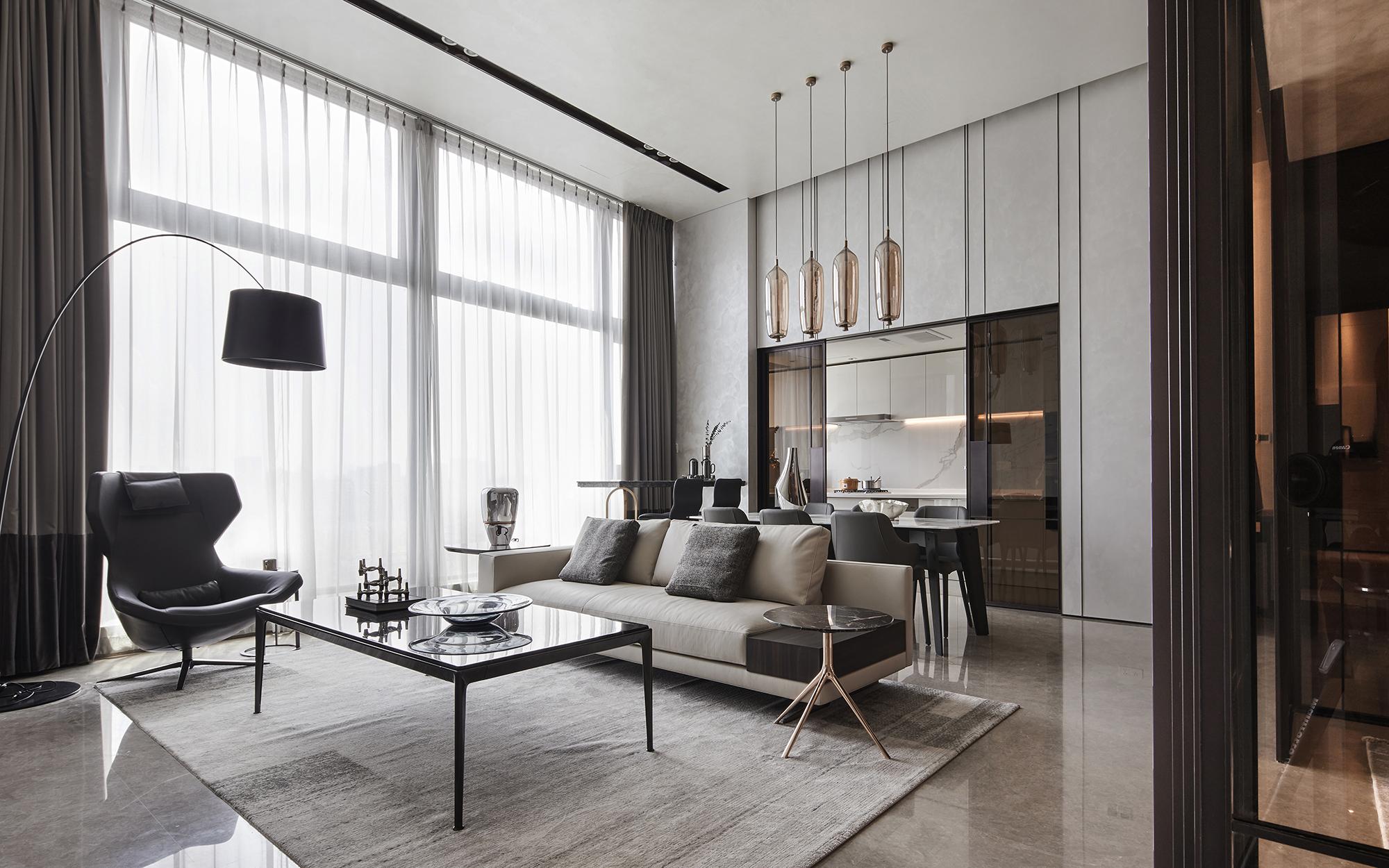 squarerooms GFD living room luxury home grey black white monochromatic minimalist modern tinted glass door