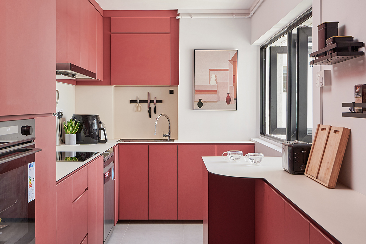 squarerooms eightytwo home renovation 3 room hdb resale flat interior design makeover contemporary style joo seng pink kitchen pastel colourful