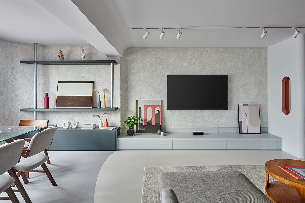 squarerooms eightytwo home renovation 3 room hdb resale flat interior design makeover contemporary style joo seng grey living room tv feature wall