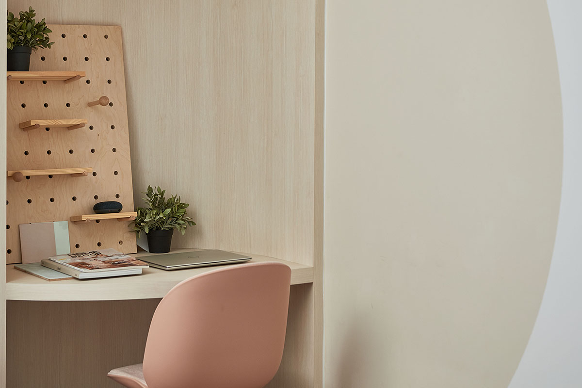 squarerooms eightytwo home renovation 3 room hdb resale flat interior design makeover contemporary style joo seng study desk curved paint office pink pastel beige cream